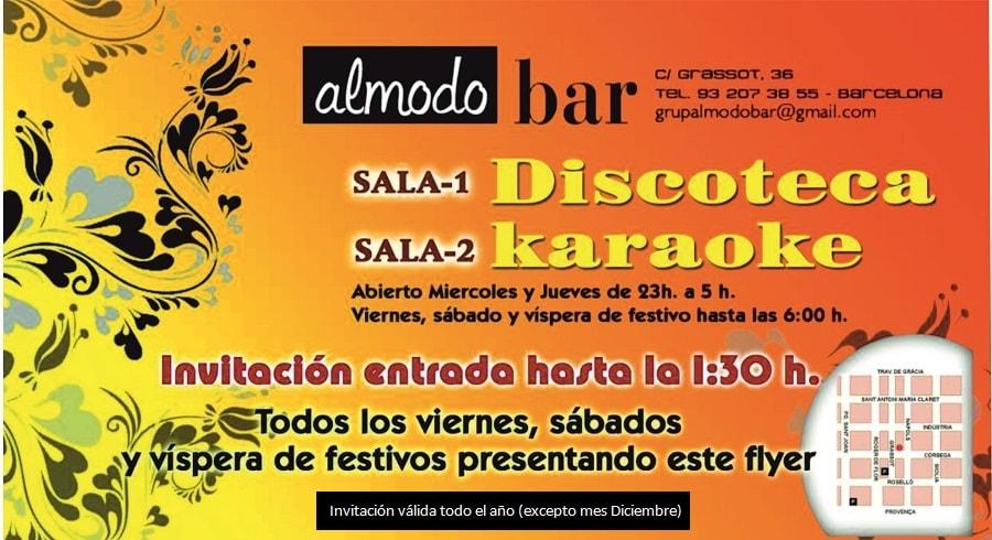 Invitación entrada Discoteca y Karaoke Sala Almodobar en Gràcia Barcelona